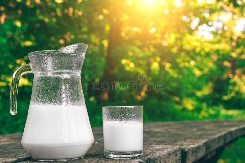 Κανάτα και ποτήρι του κρύου γάλακτος στον ξύλινο πίνακα γαλακτοκομικά φρέσκα πρ&om ενάντια ανασκόπησης μπλε σύννεφων πεδίων άσπρο στοκ εικόνες με δικαίωμα ελεύθερης χρήσης