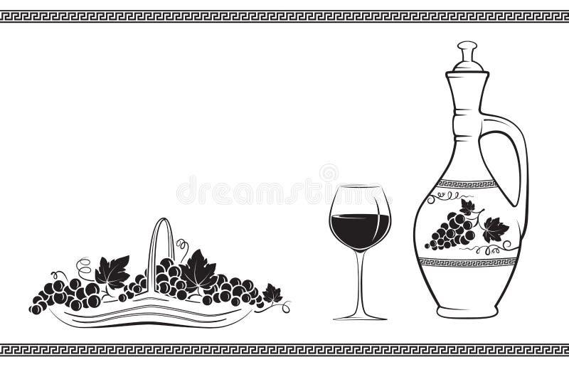 Κανάτα κρασιού που διακοσμούνται με το σταφύλι και τα φύλλα, ποτήρι του κρασιού, καλάθι με τα σταφύλια και ελληνικό παραδοσιακό σ απεικόνιση αποθεμάτων