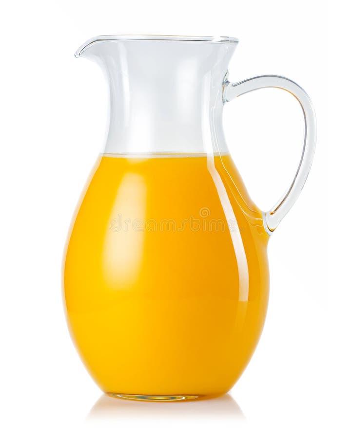 Κανάτα το χυμό από πορτοκάλι που απομονώνεται με στο λευκό στοκ εικόνες