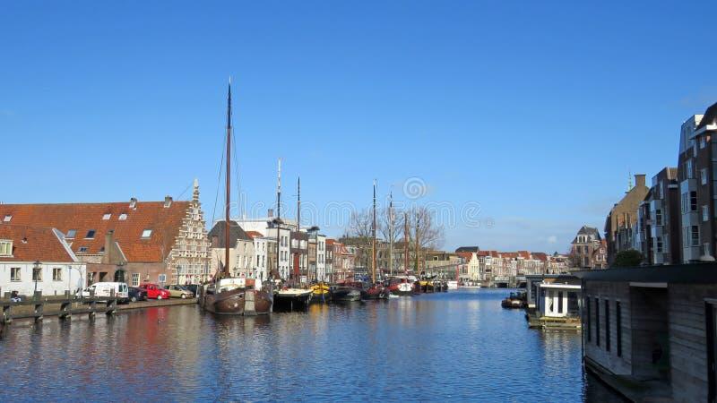 Κανάλι Galgewater στο Λάιντεν Οι Κάτω Χώρες στοκ εικόνες