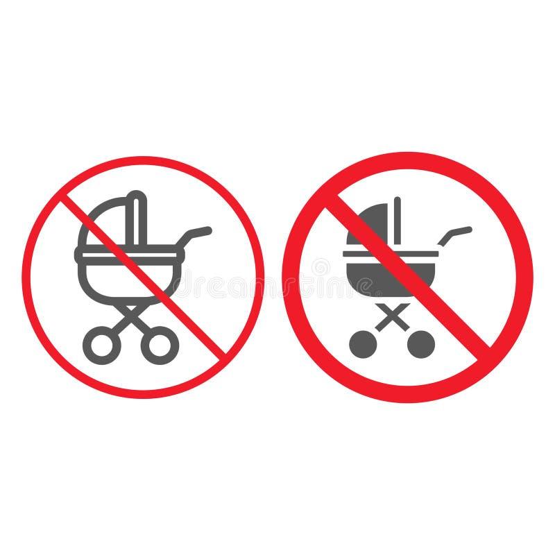 Κανένα γραμμή μεταφορών μωρών και glyph εικονίδιο, απαγόρευση απεικόνιση αποθεμάτων