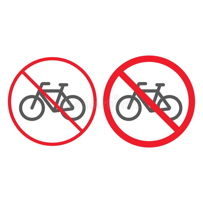 Κανένα γραμμή ποδηλάτων και glyph εικονίδιο, απαγόρευση απεικόνιση αποθεμάτων
