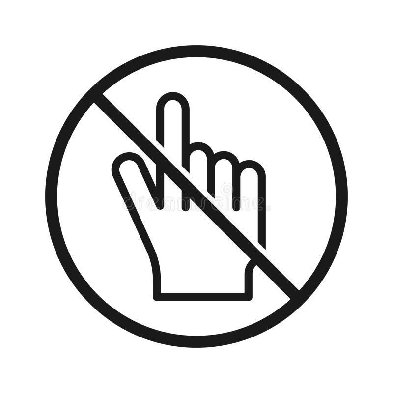 Κανένα διανυσματικό εικονίδιο σημαδιών δρομέων χεριών Μην αγγίξτε ή μην πιέστε Απλή απεικόνιση σύγχρονου σχεδίου διανυσματική απεικόνιση