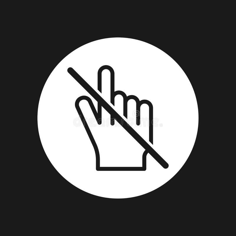 Κανένα διανυσματικό εικονίδιο σημαδιών δρομέων χεριών Μην αγγίξτε ή μην πιέστε Απλή απεικόνιση σύγχρονου σχεδίου ελεύθερη απεικόνιση δικαιώματος