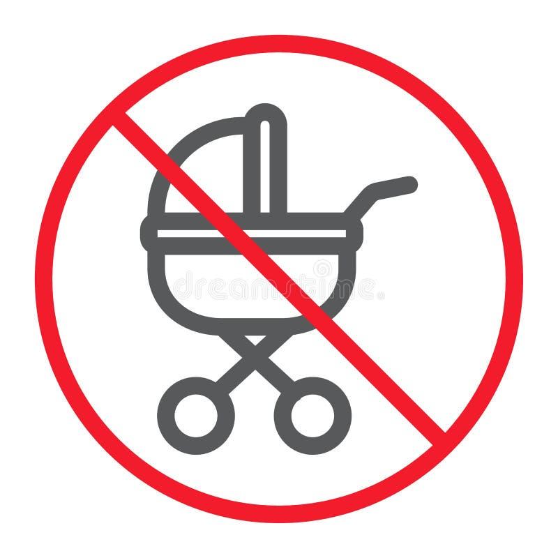Κανένα εικονίδιο γραμμών μεταφορών μωρών, απαγόρευση ελεύθερη απεικόνιση δικαιώματος