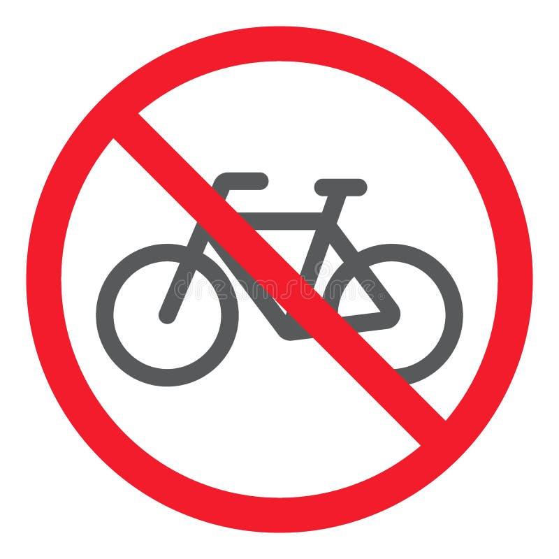 Κανένα εικονίδιο ποδηλάτων glyph, απαγόρευση και απαγορευμένος απεικόνιση αποθεμάτων