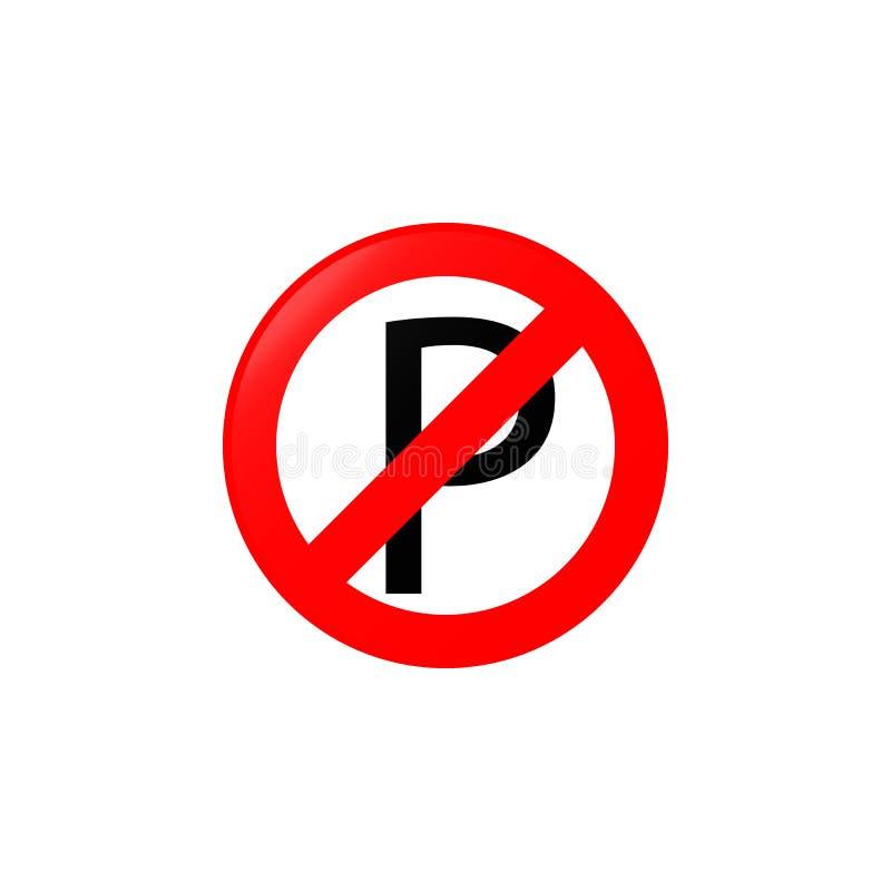 Κανένα εικονίδιο χώρων στάθμευσης Στοιχείο του εικονιδίου οδικών σημαδιών για την κινητούς έννοια και τον Ιστό apps Δεν χρωμάτισε απεικόνιση αποθεμάτων