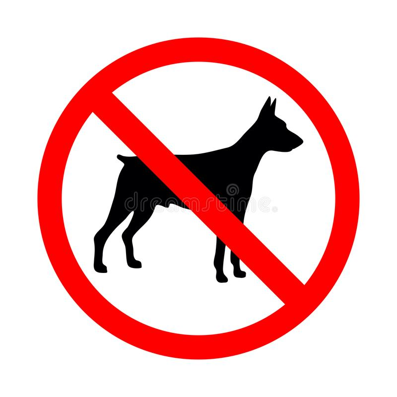 Κανένα ζωικό σημάδι Απαγορευμένο σημάδι για κανένα σκυλί ελεύθερη απεικόνιση δικαιώματος