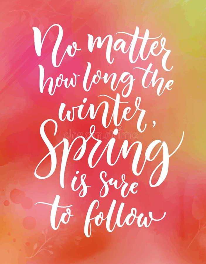 Κανένα θέμα πόσο καιρό ο χειμώνας, άνοιξη είναι σίγουρος να ακολουθήσει Εμπνευσμένο απόσπασμα για τις εποχές Καλλιγραφία στο ροζ ελεύθερη απεικόνιση δικαιώματος