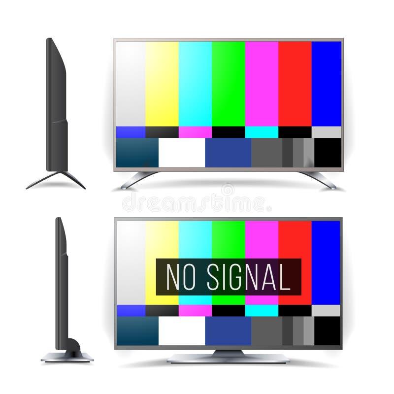 Κανένα διάνυσμα σχεδίων δοκιμής TV σημάτων κόσμος μηνυτόρων χαρτών σφαιρών LCD γυαλιού έννοιας Επίπεδη TV οθόνης χρωματισμένη ράβ διανυσματική απεικόνιση