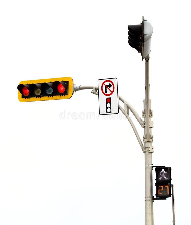 Κανένα δικαίωμα δεν ανοίγει τη διατομή κόκκινου φωτός που απομονώνεται στο λευκό στοκ φωτογραφία με δικαίωμα ελεύθερης χρήσης