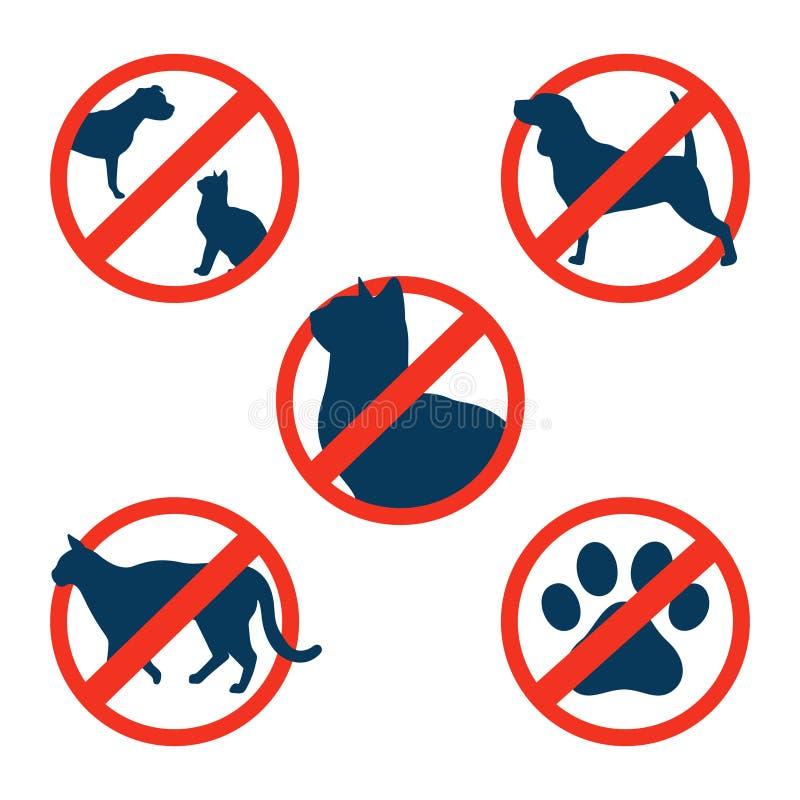 Κανένα κατοικίδιο ζώο γατών σκυλιών που επιτρέπεται το σύνολο εικονιδίων συμβόλων εισόδων ελεύθερη απεικόνιση δικαιώματος