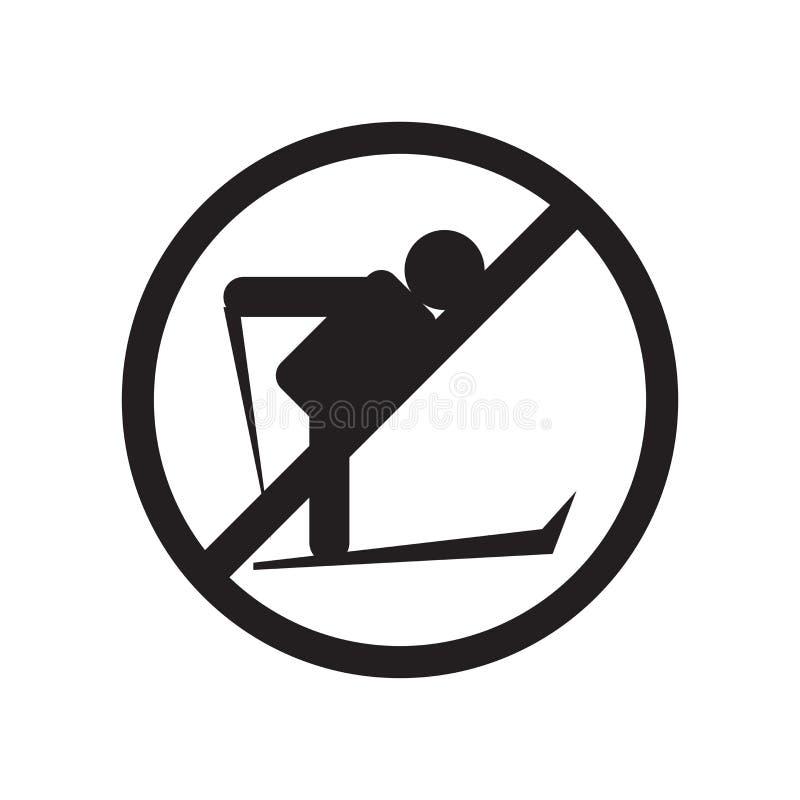 Κανένα να κάνει σκι διανυσματικά σημάδι και σύμβολο εικονιδίων που απομονώνονται στο άσπρο υπόβαθρο, καμία να κάνει σκι έννοια λο διανυσματική απεικόνιση