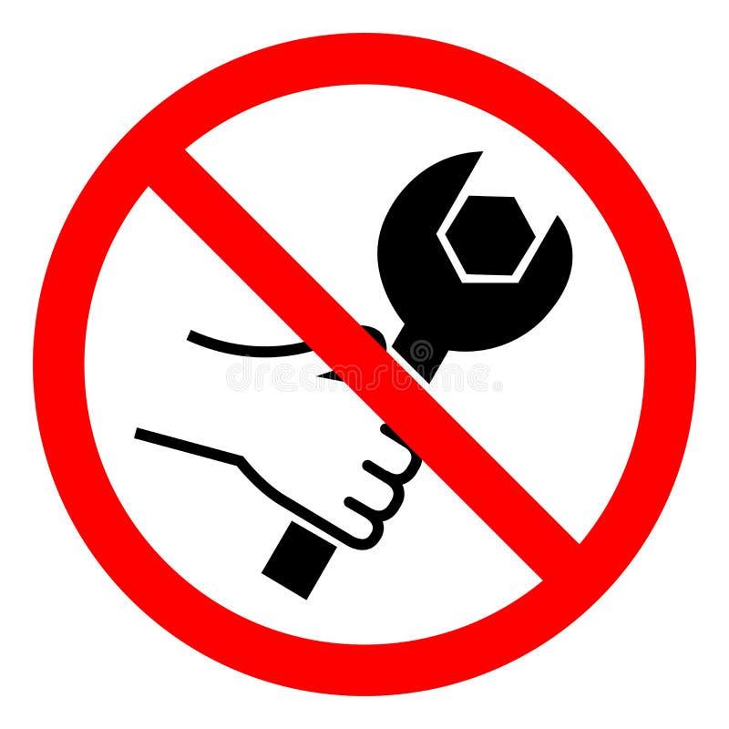 Κανένα σημάδι συμβόλων εργαλείων, διανυσματική απεικόνιση, δεν απομονώνει στην άσπρη ετικέτα υποβάθρου EPS10 ελεύθερη απεικόνιση δικαιώματος