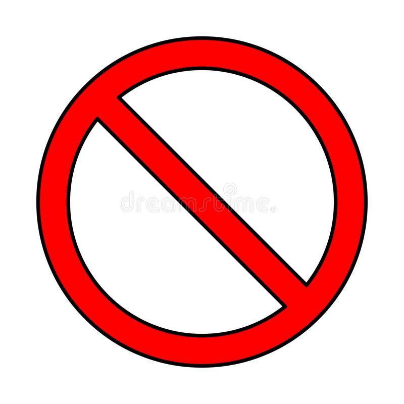 Κανένα σημάδι, σχέδιο συμβόλων απαγόρευσης που απομονώνεται στο άσπρο υπόβαθρο ελεύθερη απεικόνιση δικαιώματος