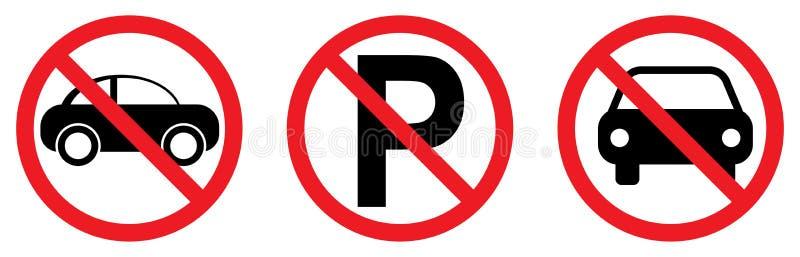 Κανένα σημάδι χώρων στάθμευσης με τα εικονίδια αυτοκινήτων ελεύθερη απεικόνιση δικαιώματος