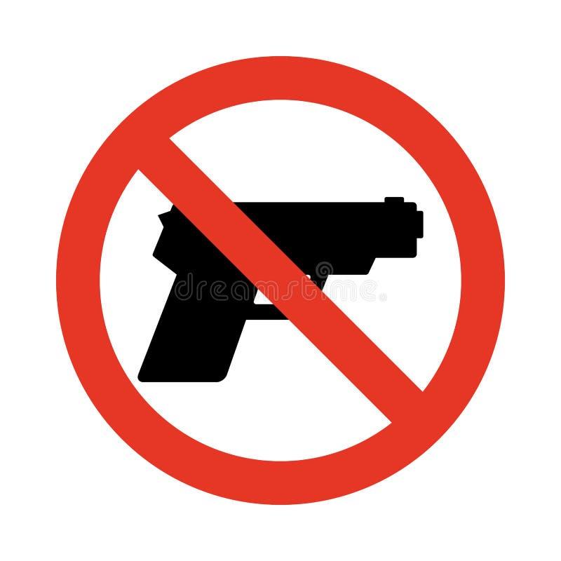 Κανένα σημάδι πυροβόλων όπλων Απαγόρευση του σημαδιού για τα όπλα ελεύθερη απεικόνιση δικαιώματος