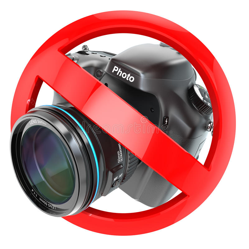 κανένα σημάδι φωτογραφίας Απαγόρευση καμερών φωτογραφιών απεικόνιση αποθεμάτων