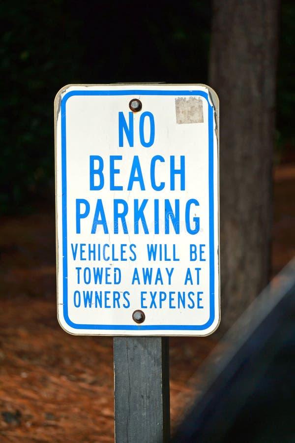 Κανένα σημάδι χώρων στάθμευσης παραλιών στοκ φωτογραφία