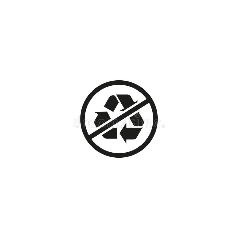Κανένα σύμβολο ανακύκλωσης που απομονώνεται στο άσπρο υπόβαθρο διανυσματική απεικόνιση