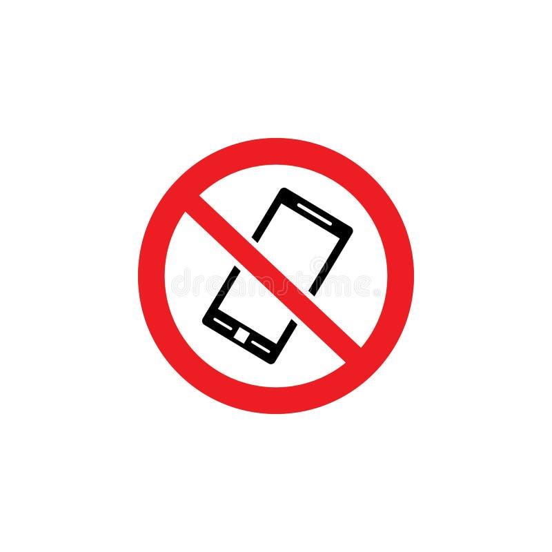Κανένα τηλέφωνο δεν επέτρεψε το σύμβολο - μαύρο εσωτερικό τηλεφωνικών εικονιδίων διασχισμένος έξω κόκκινος κύκλος απεικόνιση αποθεμάτων