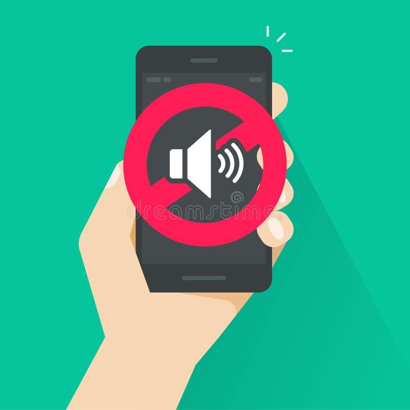 Κανένα υγιές σημάδι για την κινητή τηλεφωνική διανυσματική απεικόνιση, τον επίπεδο όγκο ύφους κινούμενων σχεδίων μακριά ή το βουβ ελεύθερη απεικόνιση δικαιώματος