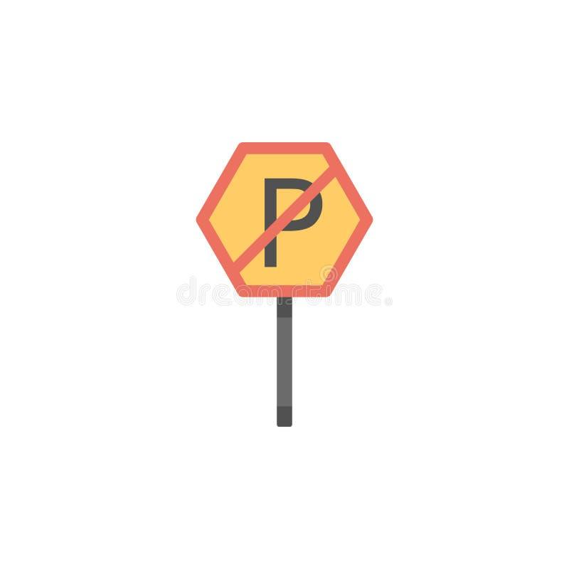 Κανένα χρωματισμένο χώρος στάθμευσης εικονίδιο Στοιχείο του εικονιδίου οδικών σημαδιών και συνδέσεων για την κινητούς έννοια και  απεικόνιση αποθεμάτων