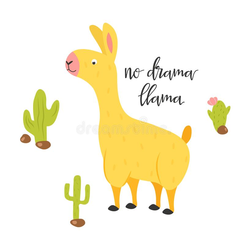Κανένα llama δράματος απόσπασμα Llama εμπνευσμένη αφίσα απεικόνιση αποθεμάτων