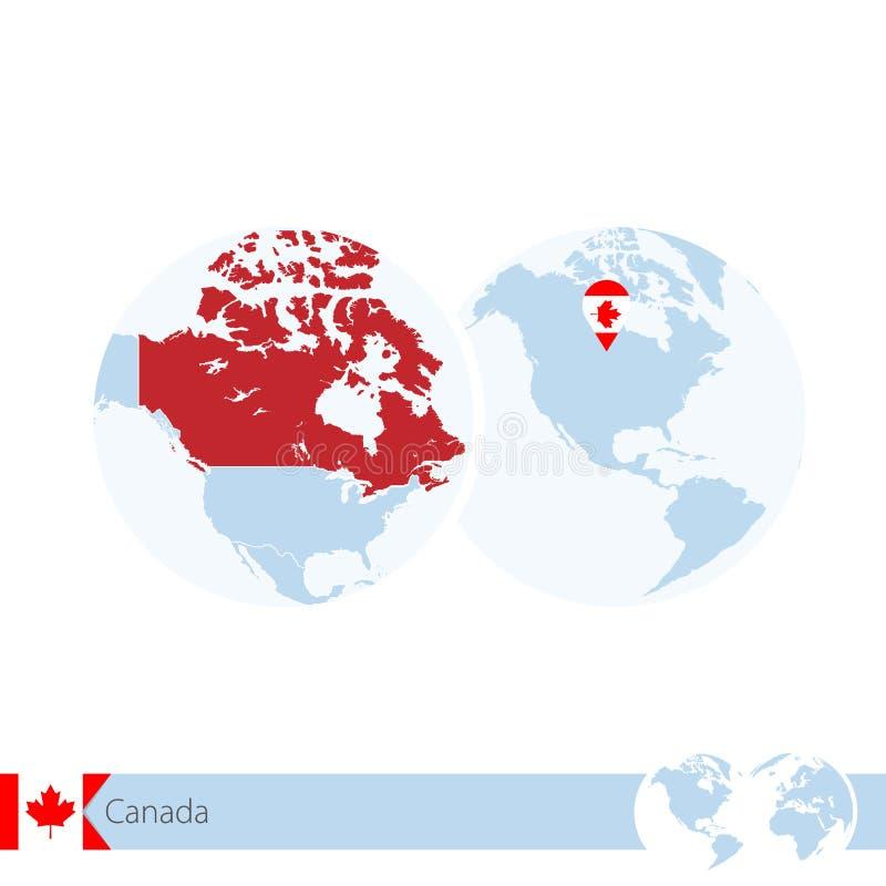 Καναδάς στην παγκόσμια σφαίρα με τη σημαία και τον περιφερειακό χάρτη του Καναδά ελεύθερη απεικόνιση δικαιώματος