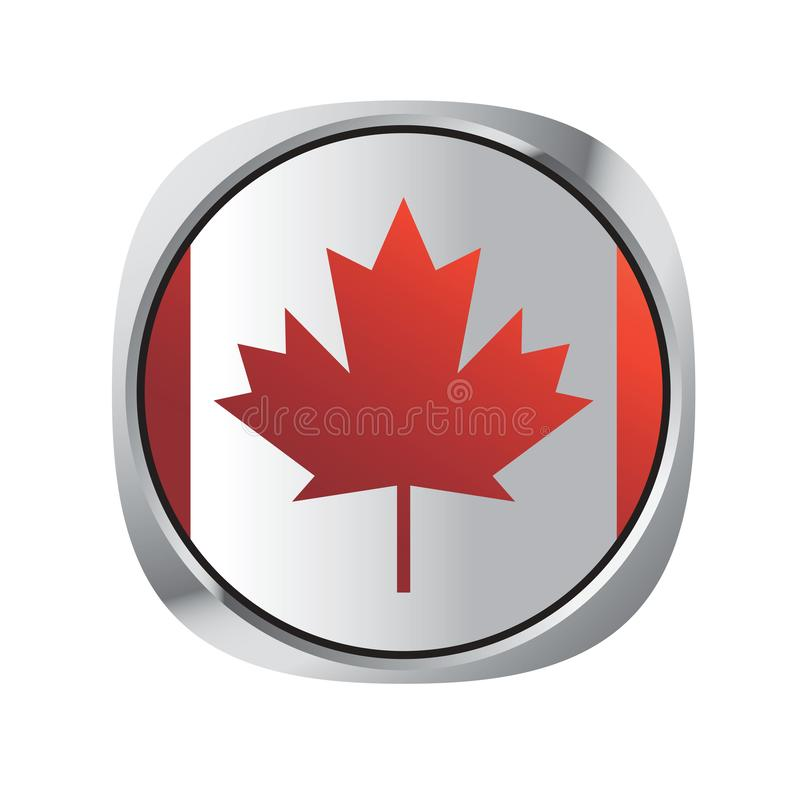 Καναδικό κουμπί εθνικών σημαιών που απομονώνεται στο λευκό διανυσματική απεικόνιση