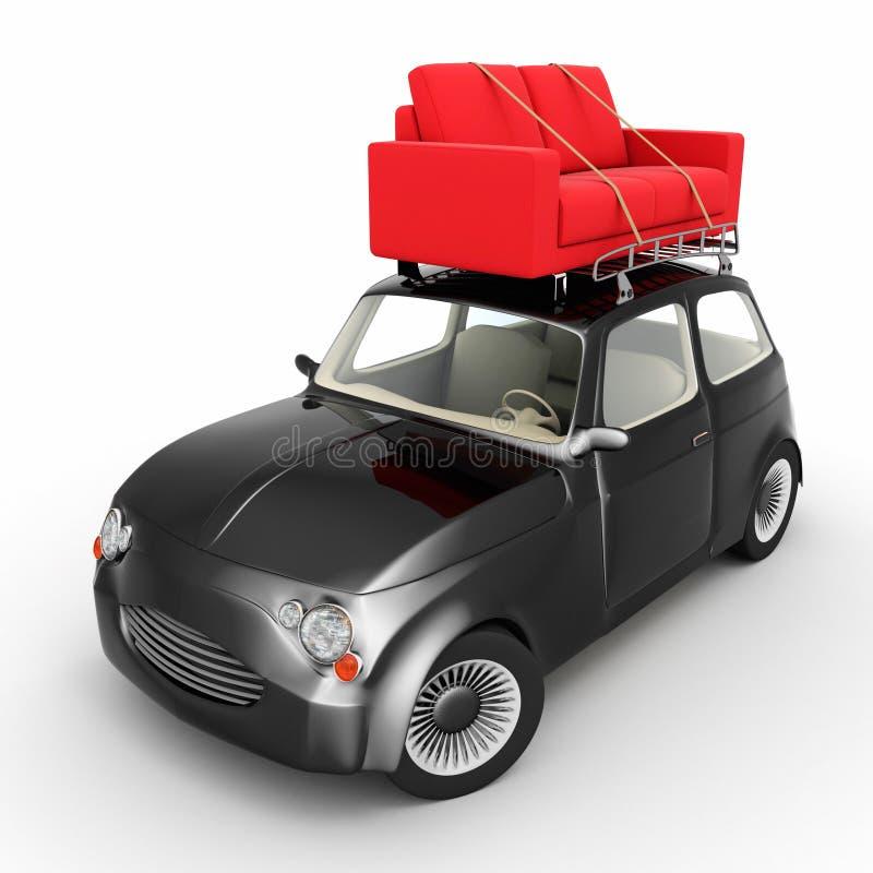 Καναπές στο μικρό αυτοκίνητο απεικόνιση αποθεμάτων