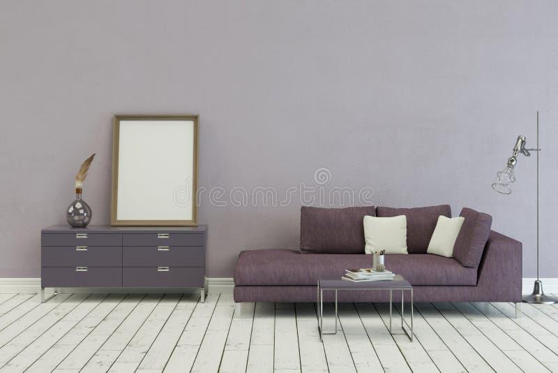 Καναπές της Lila στο σύγχρονο Σκανδιναβικό σχέδιο διανυσματική απεικόνιση