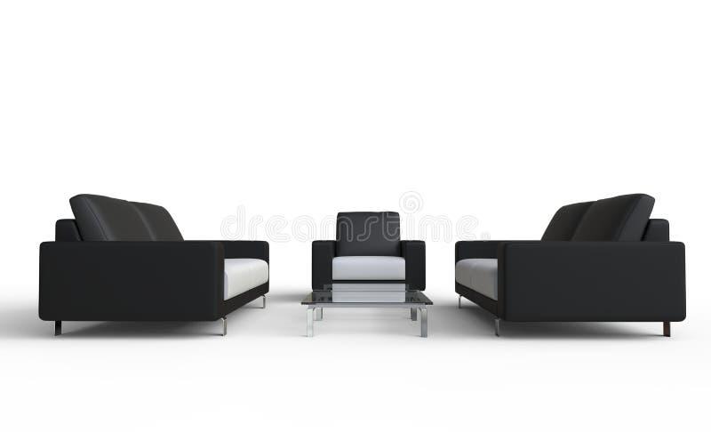 Καναπέδες και πολυθρόνα καθιστικών διανυσματική απεικόνιση