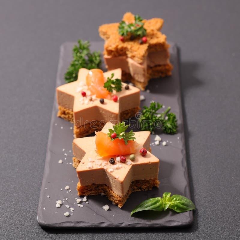 Καναπεδάκια gras Foie στοκ φωτογραφία με δικαίωμα ελεύθερης χρήσης