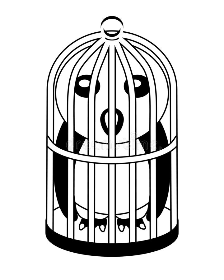 Καναρίνι σε ένα κλουβί πουλιών ελεύθερη απεικόνιση δικαιώματος