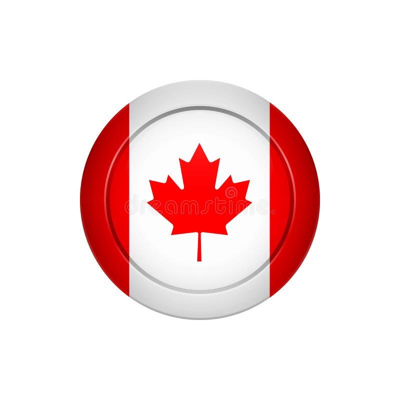Καναδική σημαία στο στρογγυλό κουμπί, διανυσματική απεικόνιση διανυσματική απεικόνιση