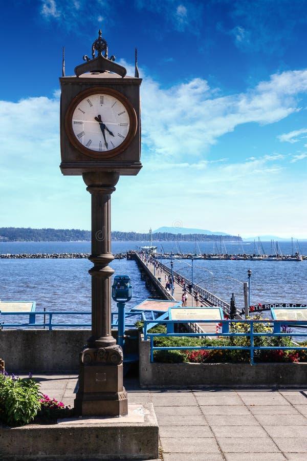 Καναδικό ορόσημο: Εκατονταετές ρολόι στον άσπρο βράχο, βρετανικό Colum στοκ φωτογραφία με δικαίωμα ελεύθερης χρήσης