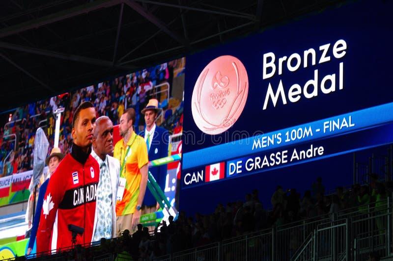 Καναδικό sprinter Andre de Grasse σε Rio2016 στοκ φωτογραφία