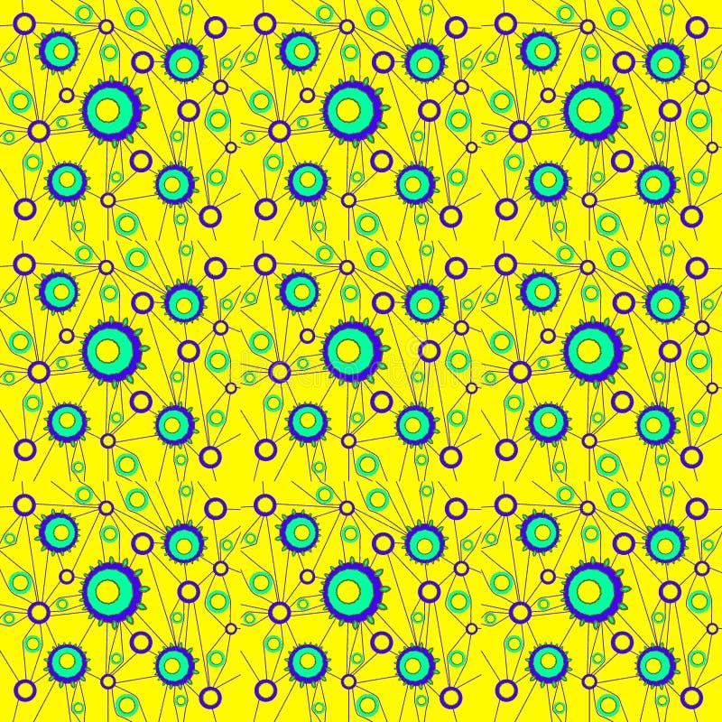 Κανονική άνευ ραφής περίπλοκη ομόκεντρη κίτρινη τυρκουάζ πορφύρα σχεδίων κύκλων με τις συνδέοντας γραμμές διανυσματική απεικόνιση