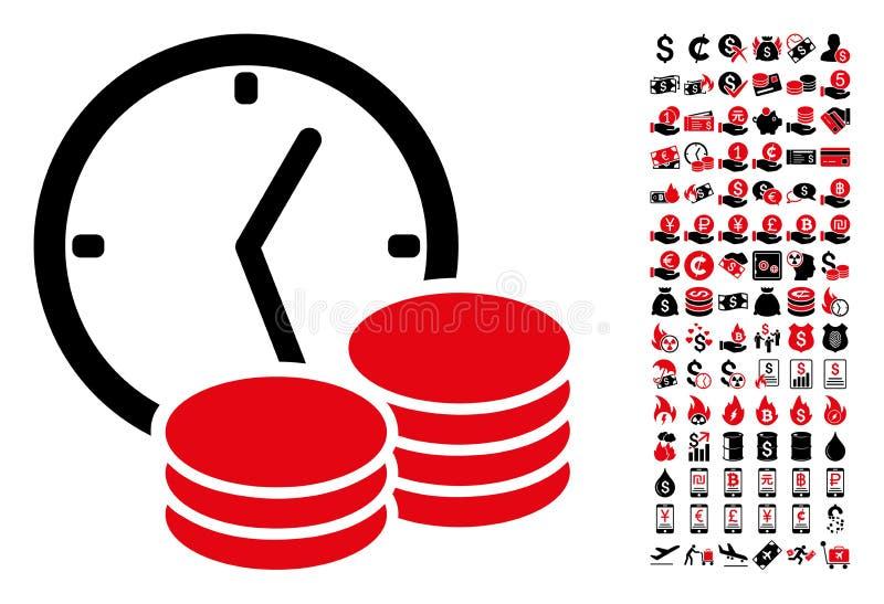 Κανονικό εικονίδιο εισοδηματικών ρολογιών με 90 εικονογράμματα επιδομάτων απεικόνιση αποθεμάτων