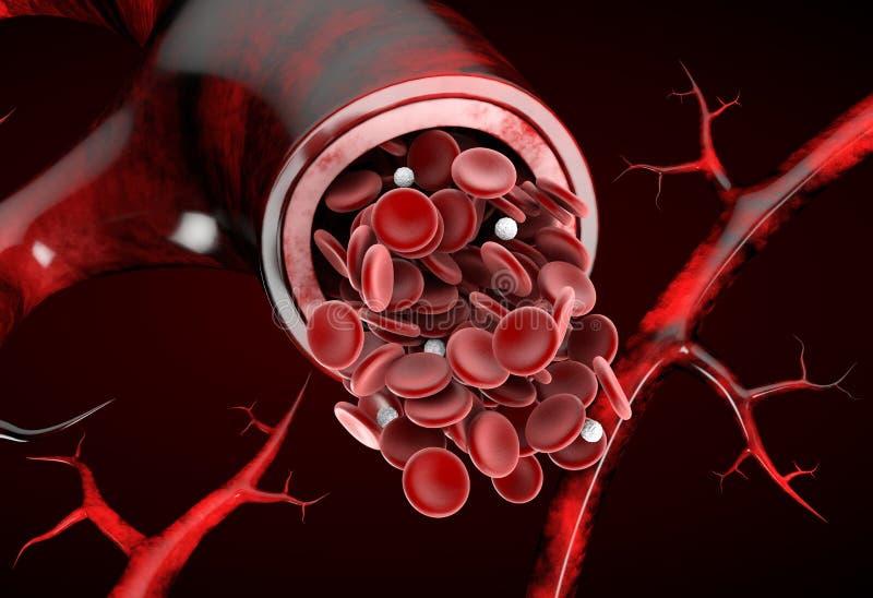 Κανονικό ρεαλιστικό τρισδιάστατο απομονωμένο απεικόνιση υπόβαθρο ροής αίματος αρτηριών κόκκινο ελεύθερη απεικόνιση δικαιώματος