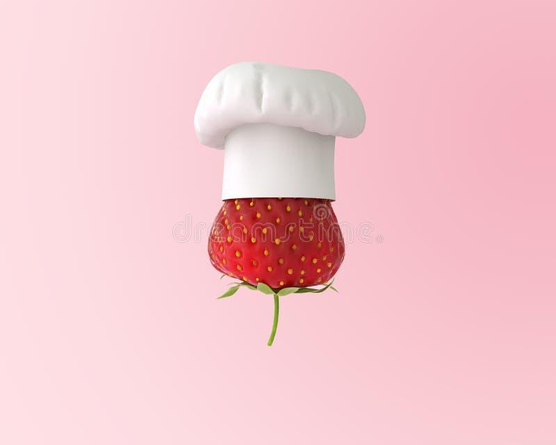 Καπέλο αρχιμαγείρων με την έννοια φραουλών στο ρόδινο υπόβαθρο κρητιδογραφιών μίνι στοκ φωτογραφία με δικαίωμα ελεύθερης χρήσης