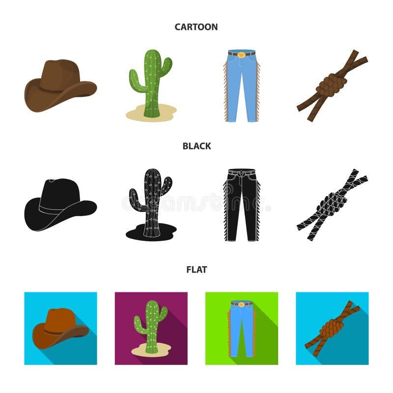 Καπέλο, κάκτος, τζιν, κόμβος στο λάσο Καθορισμένα εικονίδια συλλογής ροντέο στα κινούμενα σχέδια, μαύρο, επίπεδο απόθεμα συμβόλων ελεύθερη απεικόνιση δικαιώματος