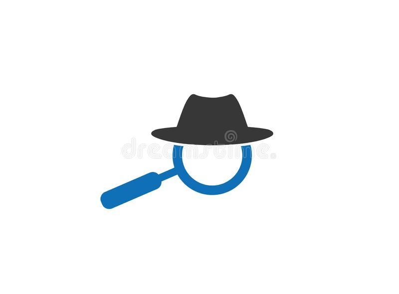 Καπέλο και loupe για έναν κατάσκοπο ιδιωτικών αστυνομικών για το σχέδιο λογότυπων ελεύθερη απεικόνιση δικαιώματος