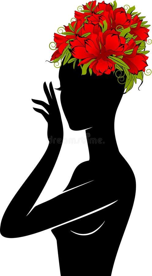 καπέλο κοριτσιών λουλουδιών διανυσματική απεικόνιση
