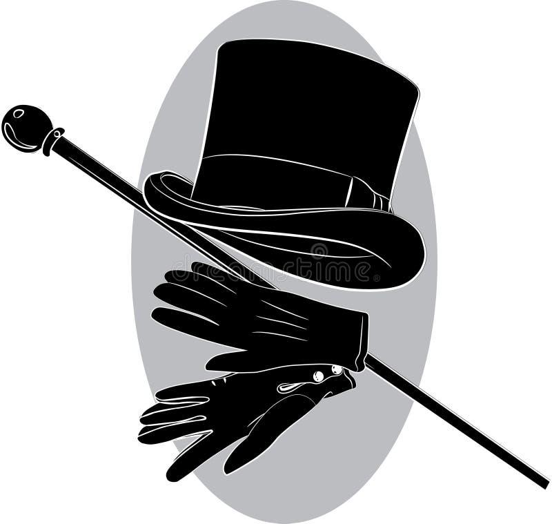 Καπέλο κυλίνδρων, γάντια και ραβδί περπατήματος διανυσματική απεικόνιση