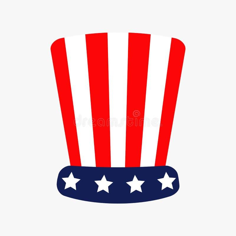 Καπέλο με τα αστέρια και το εικονίδιο λουρίδων Κόκκινο μπλε χρώμα Προέδρων ημέρα της ανεξαρτησίας Επίπεδο άσπρο υπόβαθρο σχεδίου  απεικόνιση αποθεμάτων