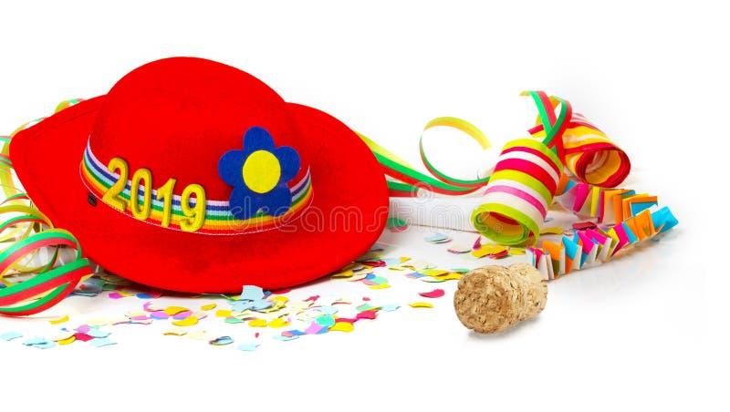 Καπέλο με το 2019, διακόσμηση με το φελλό CHAMPAGNE στοκ εικόνα