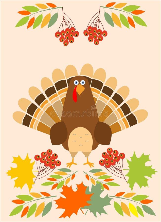 Καπέλο προσκυνητών πουλιών της Τουρκίας ευχετήριων καρτών ημέρας των ευχαριστιών Αστείες διακοπές χαρακτήρα κινουμένων σχεδίων ελεύθερη απεικόνιση δικαιώματος