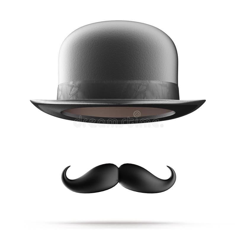 Καπέλο σφαιριστών και mustaches απεικόνιση αποθεμάτων
